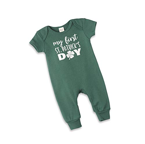 Tesa Babe St Patrick's Romper for Newborns & Baby Boys & Girls, Short Sleeves Green