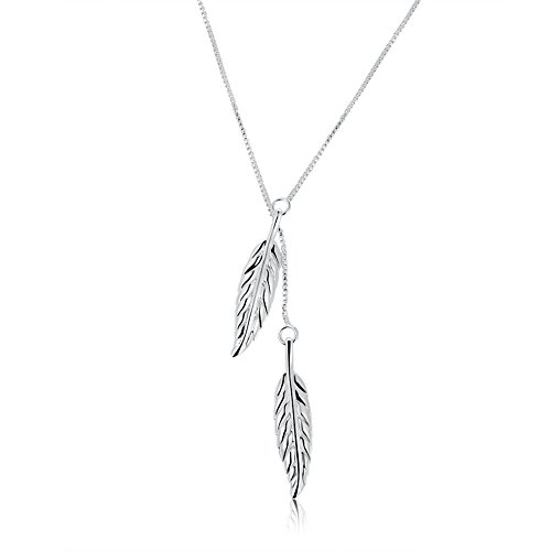 Sterling Silver Plated Leaf Pendant Necklace for Women Teen Girls Jewelry