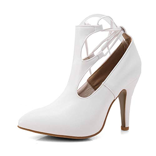 HUGDEURTN New Large Size 30-43 High-Heeled Shoes Women Spring Sexy Wedding Party Women Shoes Woman Summer Booties White 7.5