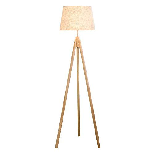 Three-Legged Floor Lamp, LED Living Room Bedroom Solid Wood Foot Floor Lamp, Nordic Wooden Art Floor Lamp (Linen, White ()