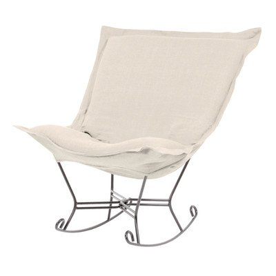 Howard Elliott 600-203 Scroll Puff Rocker with Titanium Frame, Sterling Sand