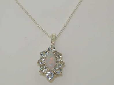 Ladies Solid 925 Sterling Silver Natural Opal Aquamarine Cluster Pendant Necklace