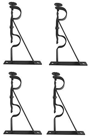 TEJATAN Double Curtain Rod Brackets - Black (Set of 4 Brackets) (4 Bracket Rod Curtain)