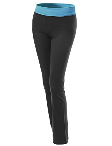 Waistband Contrast - Straight Fit Full Length Color Contrast Waistband Yoga Pants Blue Black Size M