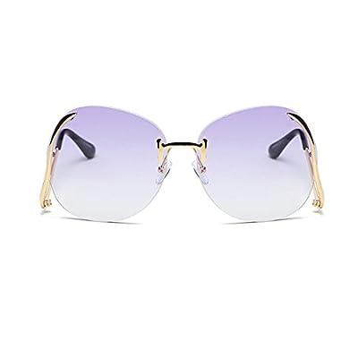 Retro Rimless Sunglasses for Women Metal Frame Oceanic Cutting Lens