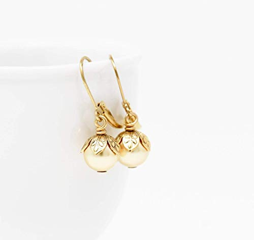 Small Drop Earrings With Pale Gold Colored Simulated Pearls