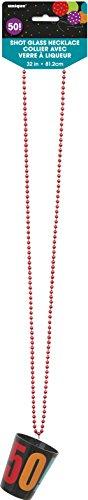 Birthday Cheer 50th Birthday Shot Glass Bead Necklace