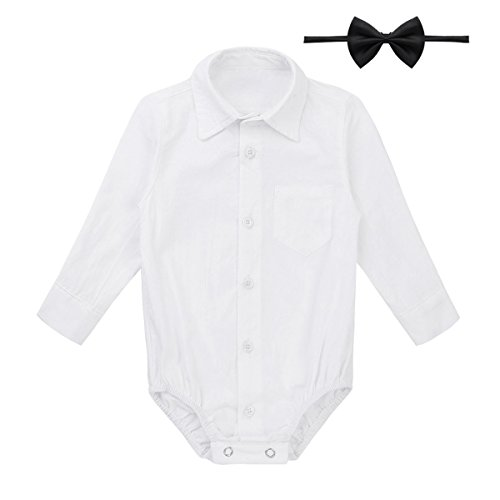 1dcc2cf5 FEESHOW Infant/Toddler Baby Boys Callor Long Sleeve Formal Dress Shirt  Bodysuit Romper Wedding Party