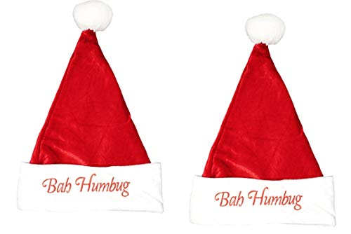 Santa Hat Embroidered Festive Holiday Hat for Adult and Teens - (Bah Humbug, 2 Pack) -