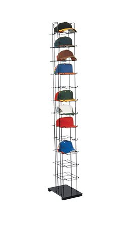 "Black Floor Standing Hat Rack Tower, Black Finish • Holds up to 72 Caps Vertically • Features Friction Fit Sign Holder • Overall Dimensions 78''h X 10''w X 15½""d • Easy to Assemble,create Attractive Hat Displays to Encourage Your Customers to Acc by Only Hangers"