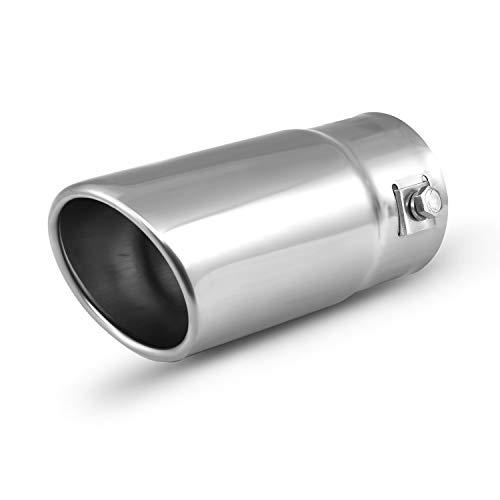 Car Muffler Tip - Stainless Steel to give Chrome Effect - To Fit 1.5 to 2 inch Exhaust Pipe Diameter - Installation Clamps Included by TriTrust ()