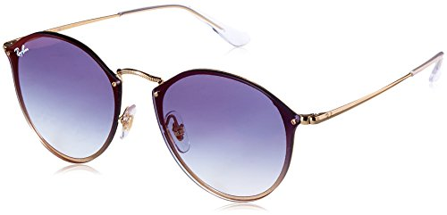 Ray-Ban RB3574N Blaze Round Sunglasses, Gold/Blue Gradient Mirror, 59 mm (Ray Blue 3447 Ban)