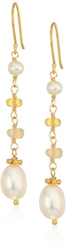 - Line Drop Earrings with Opal and White Cultured Freshwater Pearls and Gold Over Silver Drop Earrings