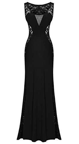 Kearia Women Nude Illusion V Neck Deep Sexy Lace Prom Evening Gowns Lace Long Dress Black Medium