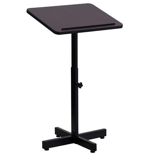 Flash Furniture Adjustable Height Metal Lectern in Mahogany