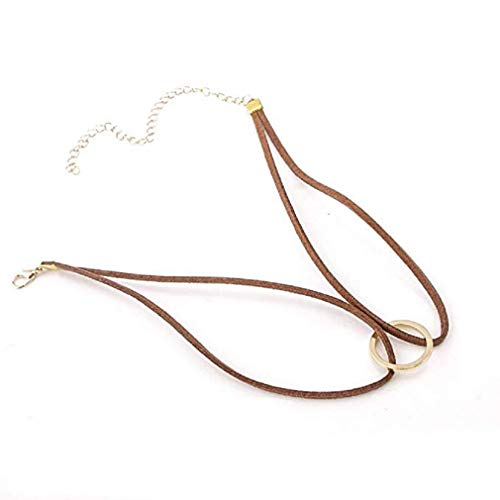 Noopvan New Leather Choker Charm Necklace Vintage Hippy Chocker Leather Necklace (Brown)