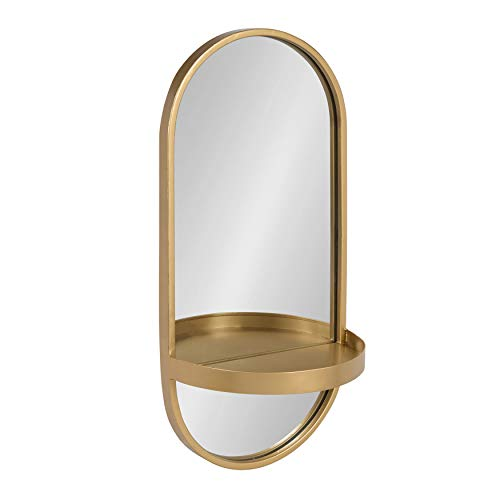 Kate and Laurel Estero Modern Metal Wall Mirror with Shelf, Gold