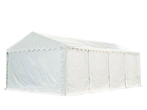 XXL Lagerzelt PROFESSIONAL PLUS 6x8m, hochwertige 550g/m² feuersichere PVC Plane nach DIN in weiß, vollverzinkte Stahlkonstruktion, Ø Stahlrohre ca. 50 mm, Seitenhöhe ca. 2,6 m