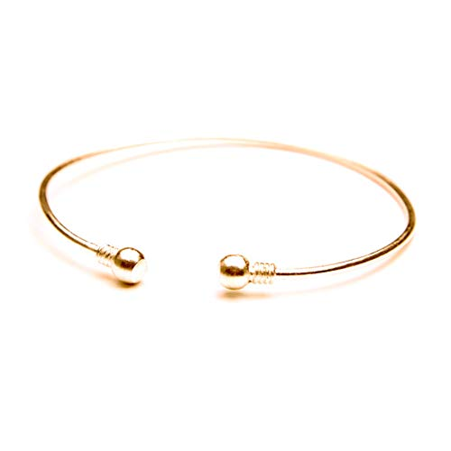 HUNO Minimalist Metal Punk Spiral Coil Upper Arm Cuff Open Arm Bracelet Armlet Adjustable Hammered Wrap Armband Bangle for Women (Bead Gold) ()
