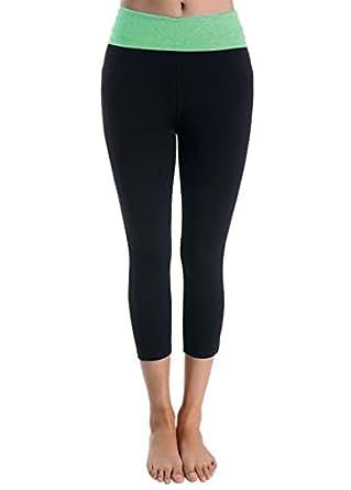 Styleyet Women's Cotton Contrast Waistband Workout Yoga Legging Capri Pants (Large, Black/Mint)
