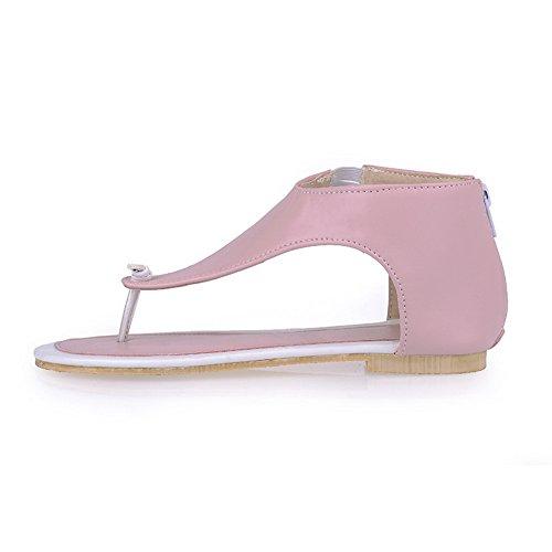 AalarDom Womens Split-Toe Low-Heels PU Solid Sandals Pink-ll j3OoSsMFI