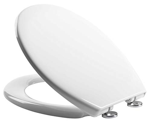 Soft Close Quick Release Toilet Seat, White (Heavy Duty) - Dual Fixing System -...