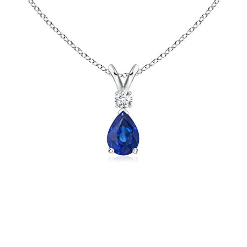 (Blue Sapphire Teardrop Pendant with Diamond in Platinum (6x4mm Blue Sapphire) )