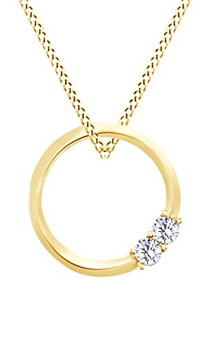 Two Stone Circle Pendant Necklace In 10k Yellow Gold With 0.10 cttw Round White Natural Diamond - 0.10 Cttw Natural