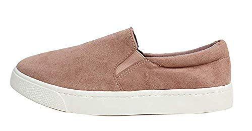 SODA Reign Slip On Faux Suede Sneaker, Closed Toe w/Memory Foam Insole (8, Blush) ()