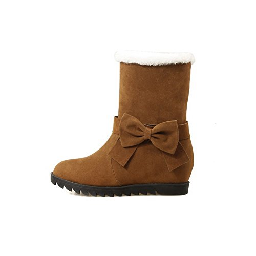 Low Closed Boots Brown AllhqFashion Heels Solid top Round Low Toe Frosted Womens YtqqFvxO