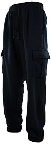 ChoiceApparel® Mens Cargo Sweatpants With Drawstrings (3XL, 652-BLACK)