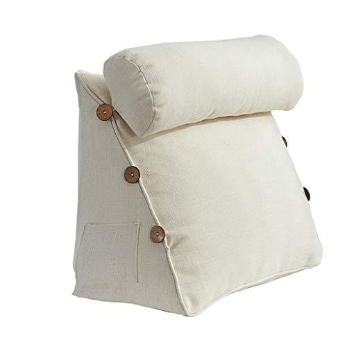 Triangular Back Cushion Backrest Pillow Waist Cushion Washable Cotton Linen Lounger TV Reading Lumbar Support Pillow (Color : C)