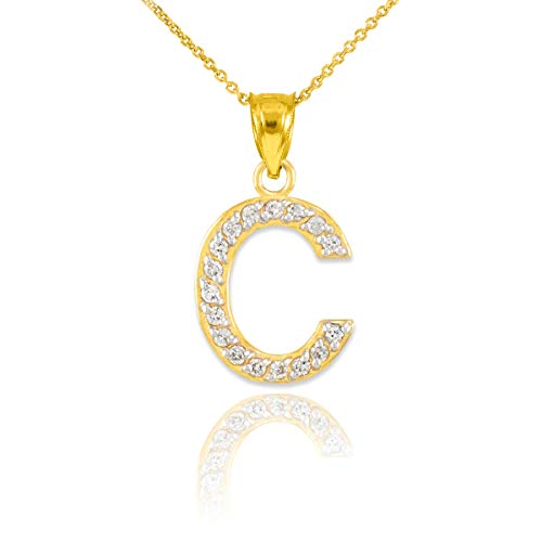 10k Yellow Gold Diamond Initial Pendant Letter C Initial Necklace, 18