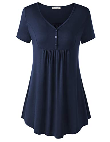 Navy Short Sleeve Tee - BAISHENGGT Short Sleeve Tunics for Women, Women's Short Sleeve V Neck Front Pleated Flared Comfy Loose Tunic Top Navy XL