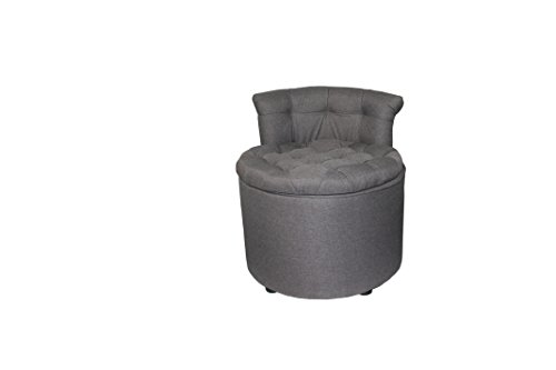 "ORE International HB4610 24"" H Tufted Rolled Back Seating with Storage & Ottoman"
