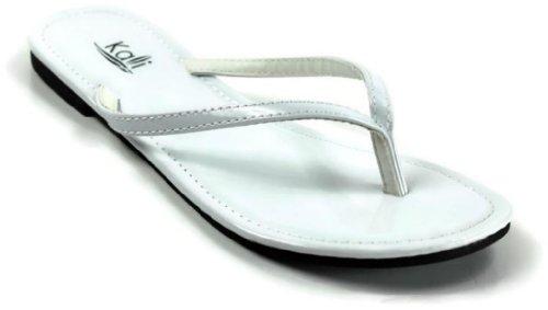 Kali Footwear Women's Twins Basic Patent Flat Thong Sandal, White 9