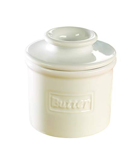 - The Original Butter Bell Crock by L. Tremain, Cafe Retro Collection - White