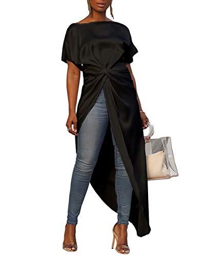 Women's Boat Neck Short Bat Sleeve Tie Knot Ruched Waist Asymmetrical High Split Dip Hem Tops Blouse Shirt Dress Black L ()