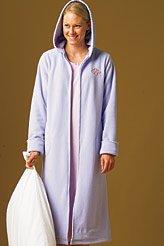 Womens Petite Angel Fleece Zip Front Hooded Dressing Gown Uk Size
