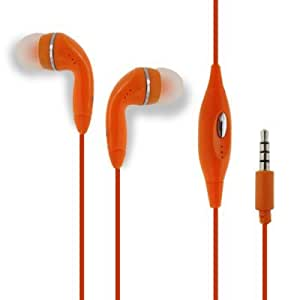 Orange Color 3.5mm Audio Earphone Headphones Headset Earbuds With Microphone Hands Free For BlackBerry Bold 9000 9650 9700