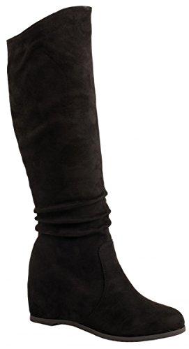 Elara Damen Stiefel | Bequeme Keilstiefel | Langschaft Wildlederoptik| chunkyrayan Schwarz Monaco