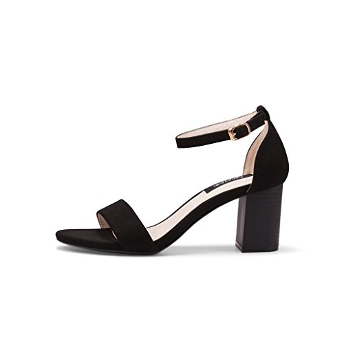 Word with Sandals Thick Female Simple High Shoes Toe Open Summer Shoes Black Heels Version Korean with a BrqRPvHBX