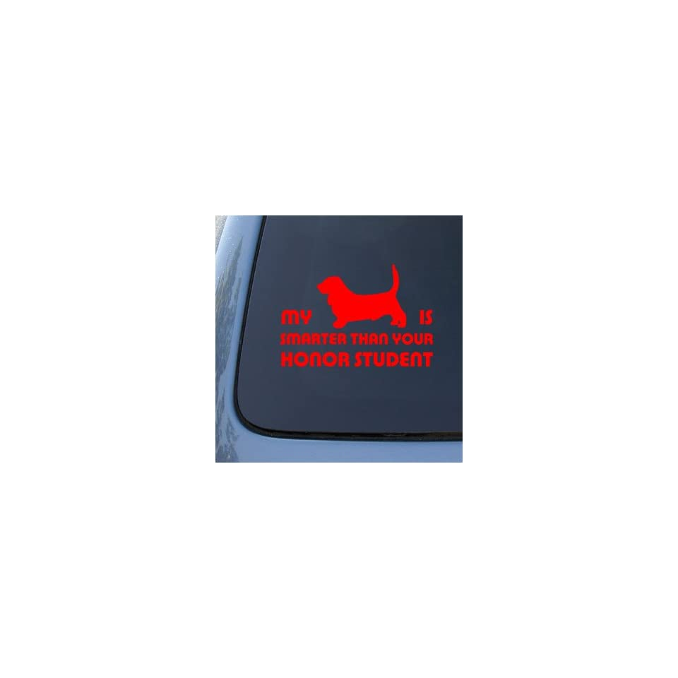 HONOR STUDENT   BASSET HOUND   Dog Decal Sticker #1524  Vinyl Color Red