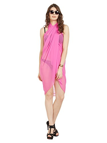 ELINA FASHION Sarongs Womens Faux Georgette Sexy Swimsuit Beach Bath Wrap Cover-up (hot Pink)