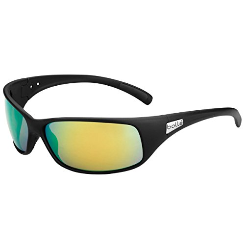 Bolle Recoil Sunglasses, Matte Black Frame, Brown Emerald Lens ()