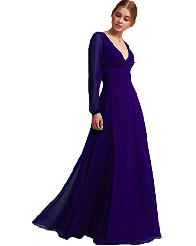 PearlBridal Special Occasion Chiffon Natrual Poet Long Sleeves Sheath Mother of The Bride Dress