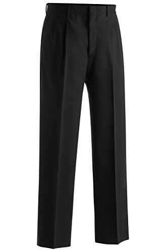 Ed Garments Men's Lightweight Pleated Front Wool Pant, BLACK, 40 32 Lightweight Wool Dress Pant