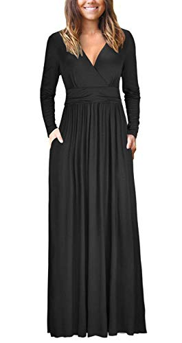 USUASID Womens Long Sleeve V-Neck Wrap Waist Casual Loose Plain Pocket Maxi Dress Black