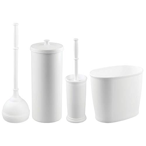 mDesign Modern Plastic Bathroom Storage and Cleaning Accessory Set - Includes Toilet Plunger, Bowl Brush, 3-Roll Toilet Paper Canister with Lid, Wastebasket Trash Can/Garbage Bin ()