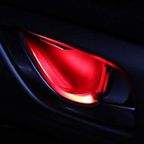 4pcs Ambient Light LED Atmosphere Light Auto Interior Inner Door Bowl handle Armrest Light Car Door Interior Light Decorative Lamp Atmosphere Neon Lights Strip for Car(red)...